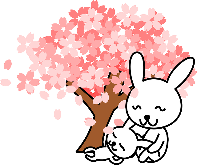 Rabbits, Bunnies, Animal, Cute, Tree, Cherry Tree
