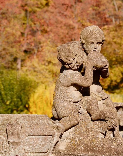 Cherub, Courtyard Garden, Würzburg, Sculpture, Garden