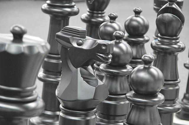 free photo chess pieces knight play chess game strategy