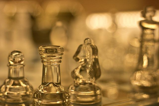 Chess, Glass, Light, Figures, Chess Pieces, Springer