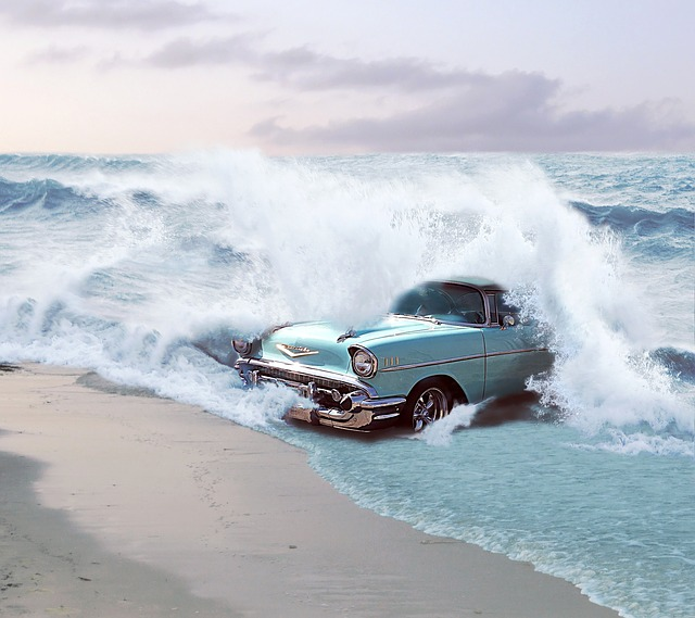 Car, Reborn, Chevrolet, Sea, Waves, Water, 50-speaker