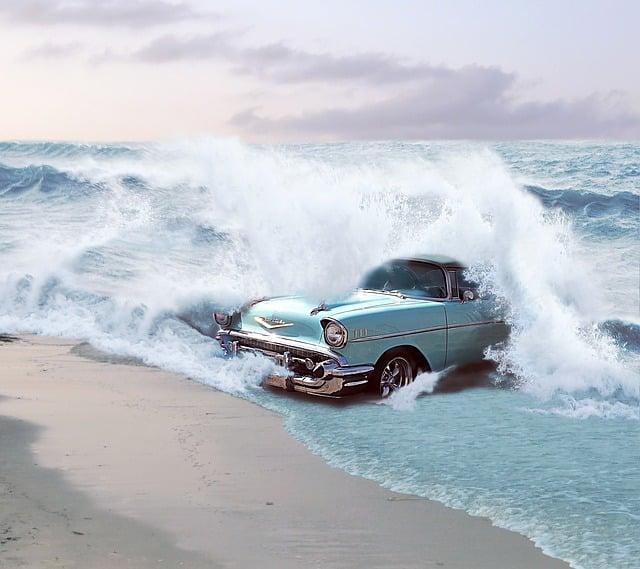 Car, Reborn, Chevrolet, Sea, Waves, Water, 50-speaker