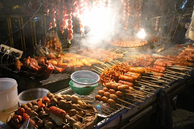Chiangmai, Market, Night, Thailand, Bazaar, Yakitori