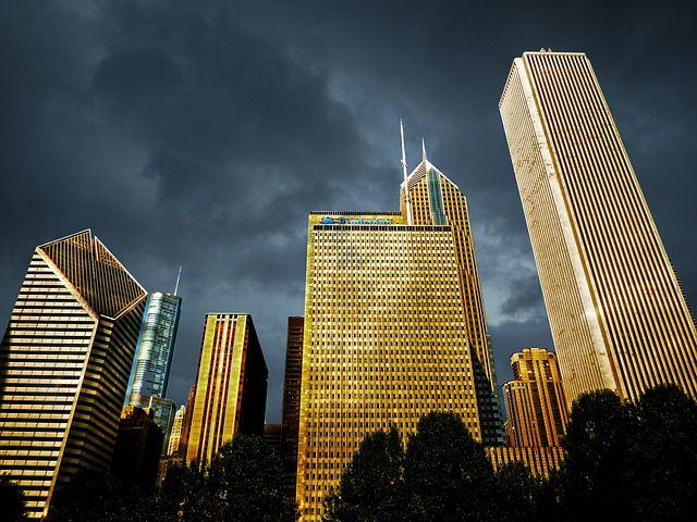 Chicago, Downtown, Dawn, Thunderstorm, Buildings