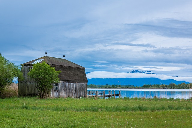 Lake, Hut, Alpine, Chiemsee, Water, Landscape, Nature