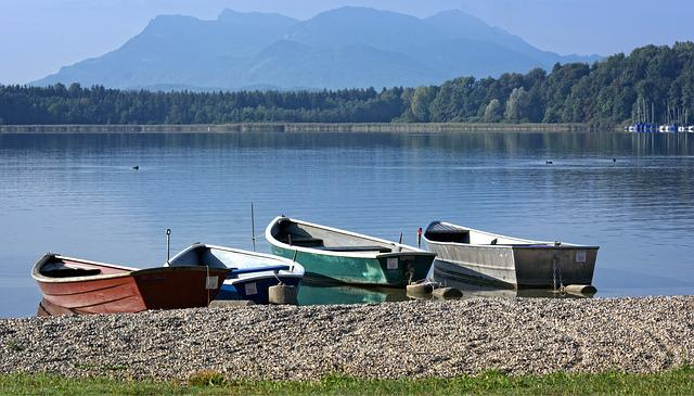 Rowing Boat, Boot, Landscape, Chiemsee, Bavaria, Lake