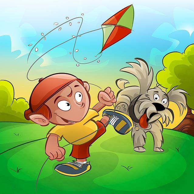Kite, Boy, Dog, Child Playing, Child, Street Play