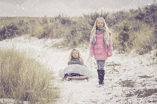 Sisters, Snow, Girl, Child, Cold, Childhood, Siblings