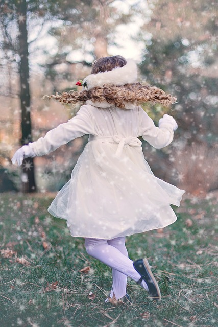 Girl, Child, Playing, Dancing, Winter, Twirling, Young