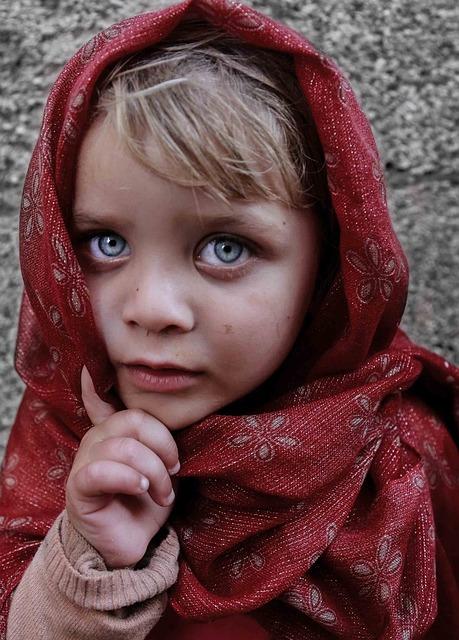 Blue Eyes, Child, Girl, Portrait, Shawl, Street, Face