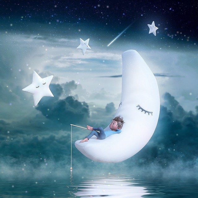 Moon, Star, Sky, Clouds, Child, Fishing Rod