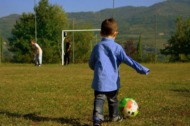 Child, Football Player, Ball, Football Field, Play