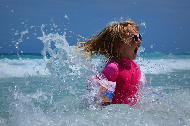 Child, Girl, Sea, Waves, Fun, Ocean, Wetsuit