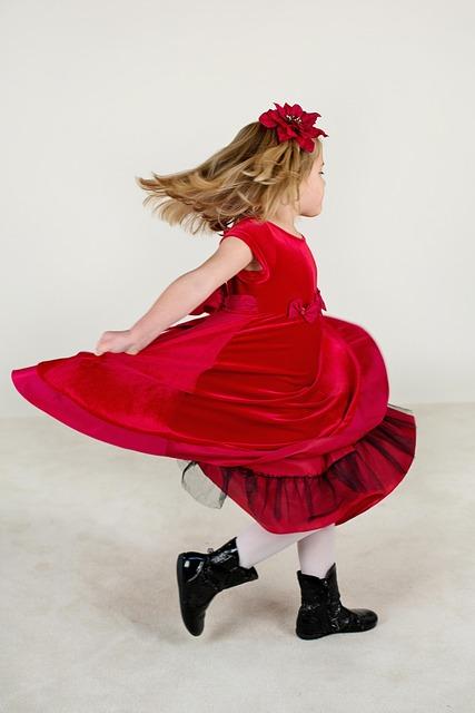 Little Girl, Running, Red Dress, Happy, Child, Girl