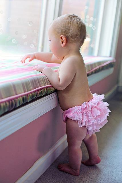 Child, Baby, Little, Indoors, Girl, Cute, Pink, Ruffles