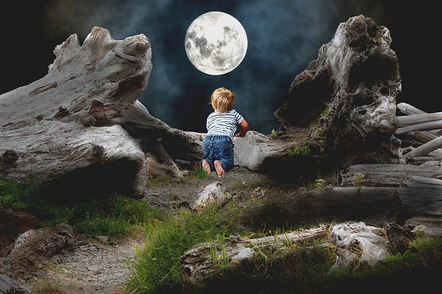 Mati, Child, Moon, Night, Konar, Boy, A Small Child