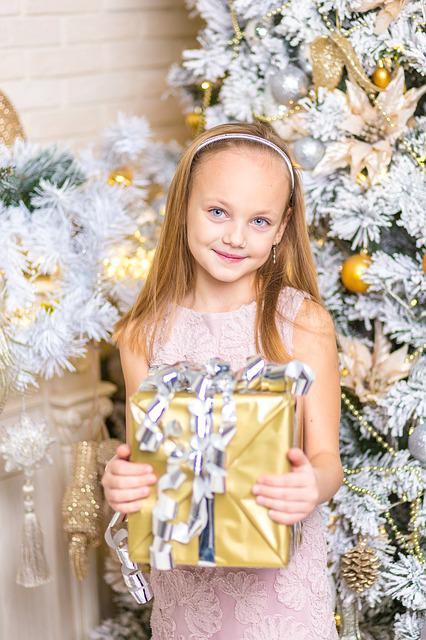 Child, Present, Happy, Proud, Christmas, Girl, People