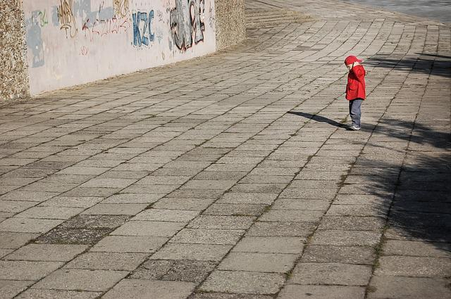 Lonely, Boy, Child, Red, A Small Child, A Person, City