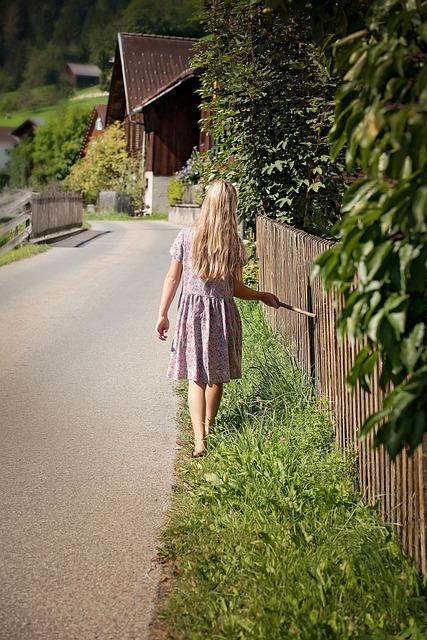 Person, Human, Child, Girl, Long Hair, Dress, Road