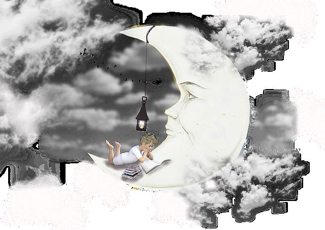 Moon, Clouds, Dream, Lantern, Sky, Boy, Child, Books