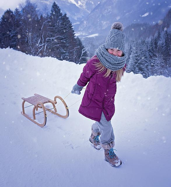 Person, Human, Child, Girl, Toboggan, Slide, Winter