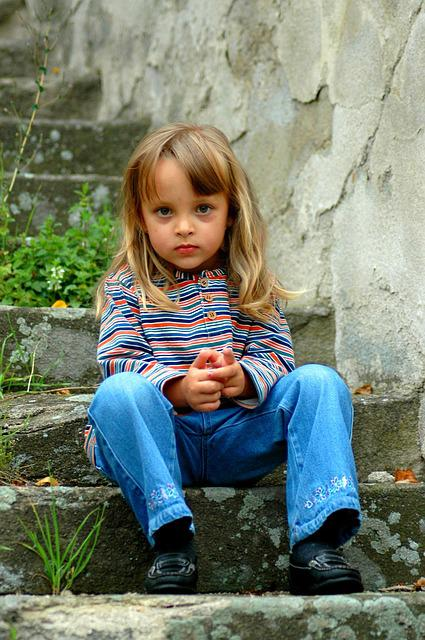 Girl, Child, Thoughtful, Stairs