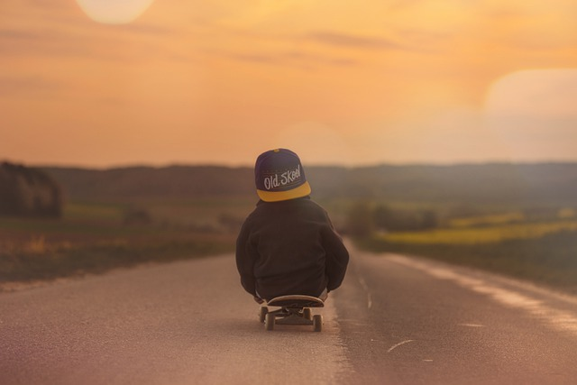 Skateboard, Child, Boy, Sunset, Afterglow, Landscape