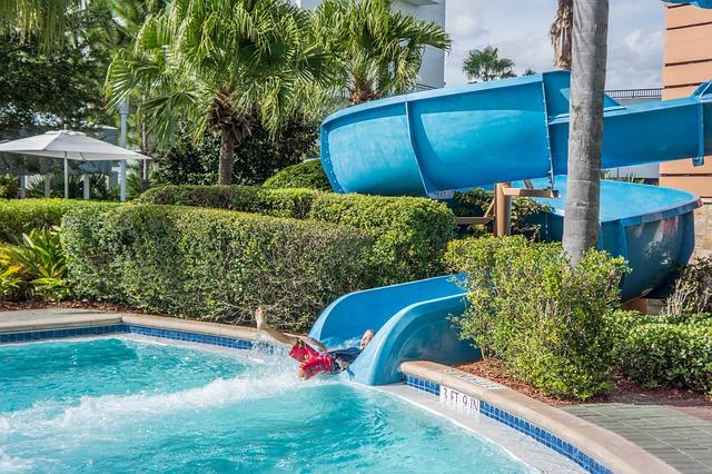 Pool, Water Slide, Child, Summer, Park, Blue, Fun