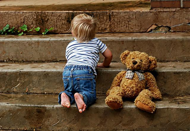 Boy, Childhood, Steps, Teddy, Outdoors Baby, Toddler