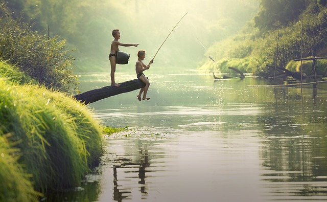 Children, Asia, Boys, Cambodia, Fisherman, Fishing