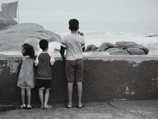 Children, Beach, Siblings, Black And White, Monochrome