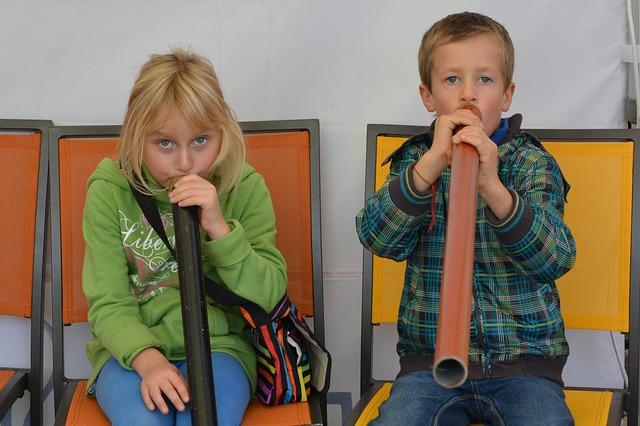Children, People, Didgeridoo, Music, Boy, Girl, Blowing