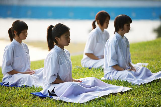 Children, Girls, School, Buddhists, Camp, Meditate
