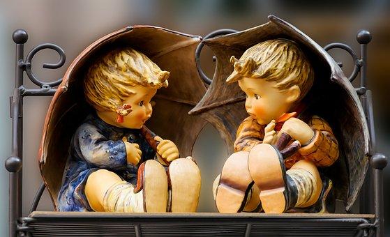 Figures, Garden Statues, Decoration, Children, Umbrella