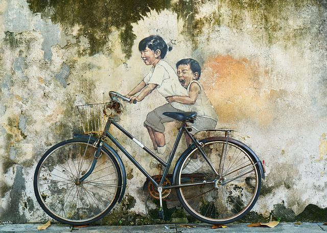 Bicycle, Children, Graffiti, Art, Artistic, Paint