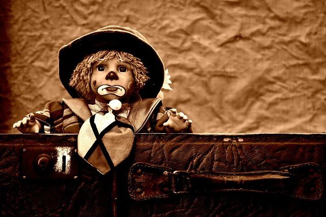 Doll, Clown, Sad, Sepia, Sweet, Funny, Toys, Children