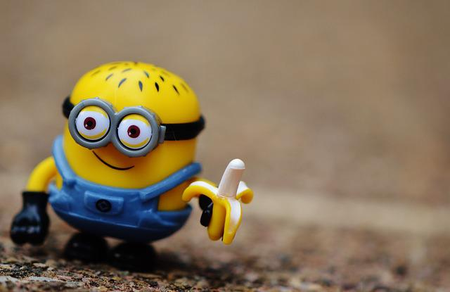 Minion, Funny, Toys, Children, Fig, Yellow, Cute, Eat
