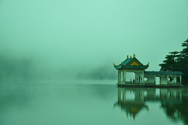 Tourism, Lake, Lushan, Cloud, Pavilion, China