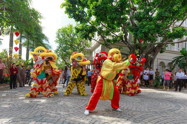 Jump, Lion, Year, Maymắn, China, Tet, New Year