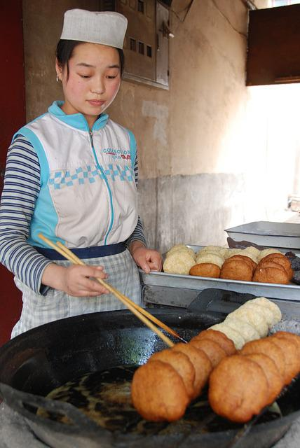 Food, China, Woman, Cooking, Street, Snack, Bread