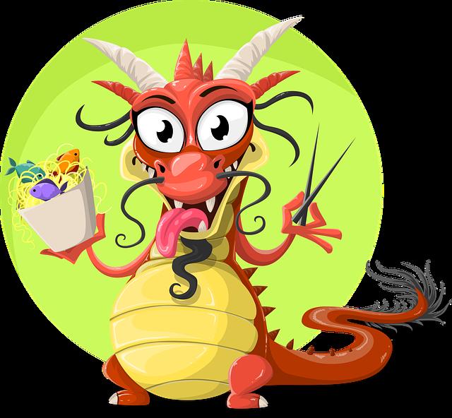Dragon, Chinese, Chinese Dragon, Food, Spaghetti, Fish