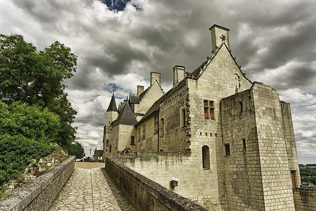 Castles, Chinon, Architecture, Sky, France, Pierre