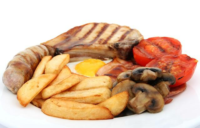 Bacon, Bread, Breakfast, Broiled, Charbroiled, Chips