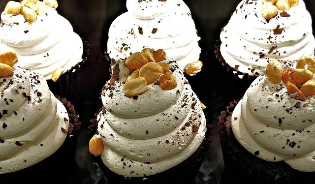 Chocolate Cupcake, Whipped Cream, Peanuts, Chocolate