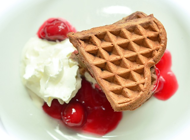 Waffles, Chocolate Waffles, Cherry Sauce, Cherries