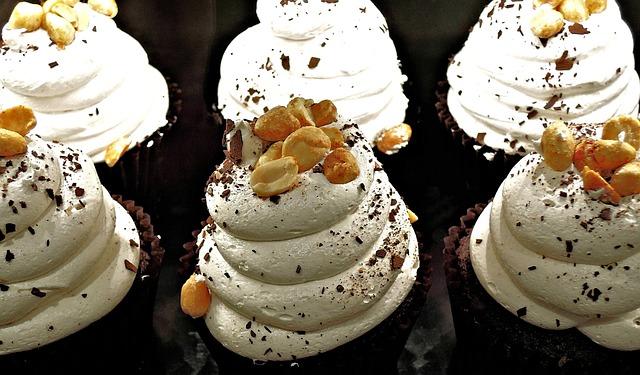 Chocolate Cupcake, Whipped Cream, Peanuts, Chocolate