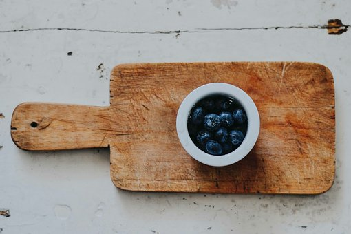 Wooden, Chopping, Board, Saucer, Food, Blueberry, Fruit