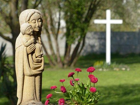 Virgin Mary, Statue, Child Jesus, Christian Art