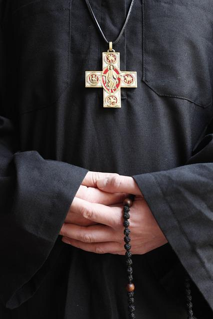 Monk, Church, Christianity, Cross, Beads