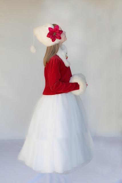 Christmas Child, Red Coat, White Fur Hat
